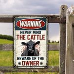 Black Angus Cattle Lovers Gift Beware Of The Owner Metal Sign