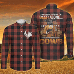Black Angus Cattle Lovers Can Not Survive On Beer Alone Long Sleeve Button Shirt