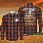 Brahman Cattle Lovers Can Not Survive On Beer Alone Long Sleeve Button Shirt