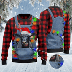 Black Angus Cattle Lovers Red Plaid Shirt And Denim Bib Overalls Knitted Sweater