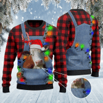 Hereford Cattle Lovers Red Plaid Shirt And Denim Bib Overalls Knitted Sweater