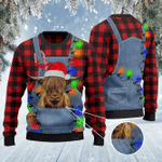 Highland Cattle Lovers Red Plaid Shirt And Denim Bib Overalls Knitted Sweater