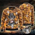 Rottweiler Dog Lovers Halloween Pumpkin Knitted Sweater