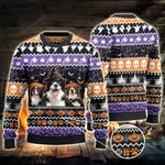 Border Collie Dog Lovers Halloween Night Knitted Sweater