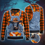 Black Angus Cattle Lovers Thanksgiving Gift Denim Bib Overalls Knitted Sweater