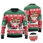 Hereford Cattle Lovers Christmas Van Knitted Sweater