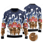 Highland Cattle Lovers Christmas Gift Snow Farm Knitted Sweater