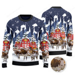 TX Longhorn Cattle Lovers Christmas Gift Snow Farm Knitted Sweater