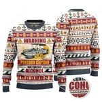 Warning Pontoon Captain May Contain Alcohol Knitted Sweater