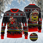 Biker Lovers Gift Santa Riding A Motorcycle All Over Print Sweater