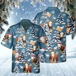 Hereford Cattle Lovers Blue Tribal Christmas Gift Hawaiian Shirt