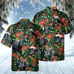 Black Angus Cattle Lovers Christmas Red Flower Hawaiian Shirt