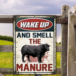 Black Angus Cattle Lovers Gift Wake Up And Smell The Manure Metal Sign