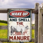 Charolais Cattle Lovers Gift Wake Up And Smell The Manure Metal Sign