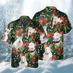 Bull Terrier Dog Lovers Christmas Red Flower Hawaiian Shirt