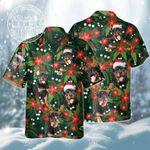 Rottweiler Dog Lovers Christmas Red Flower Hawaiian Shirt