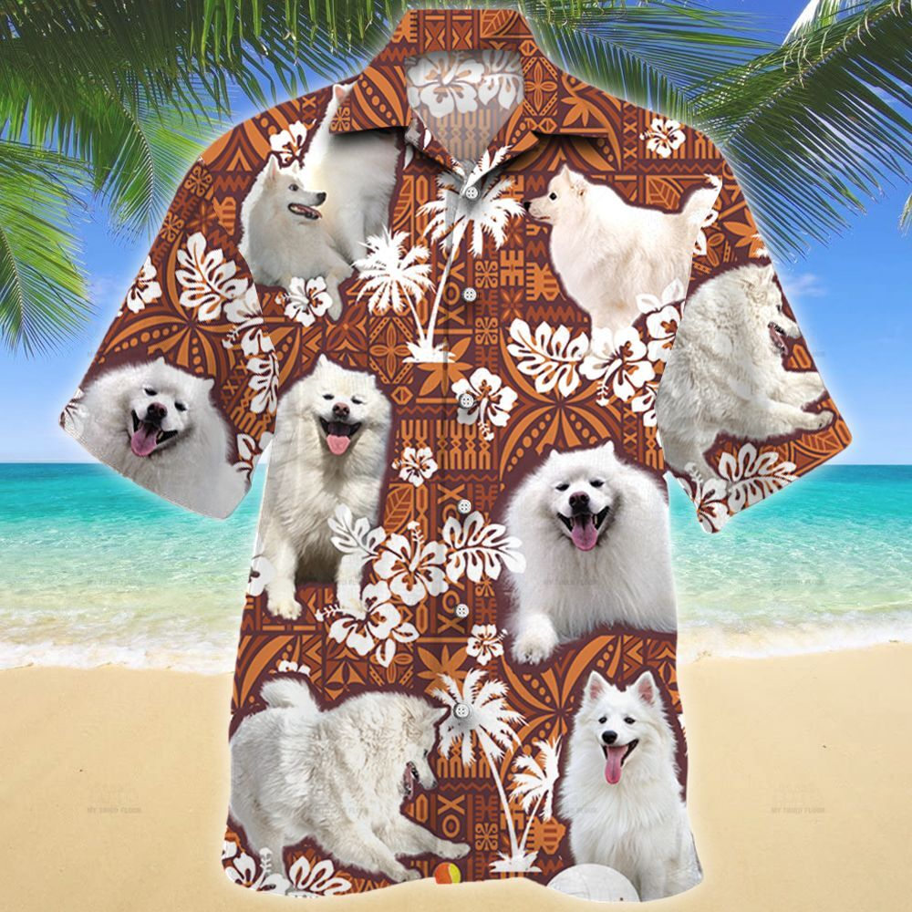 American Eskimo Dog Red Tribal Pattern Hawaii Shirt
