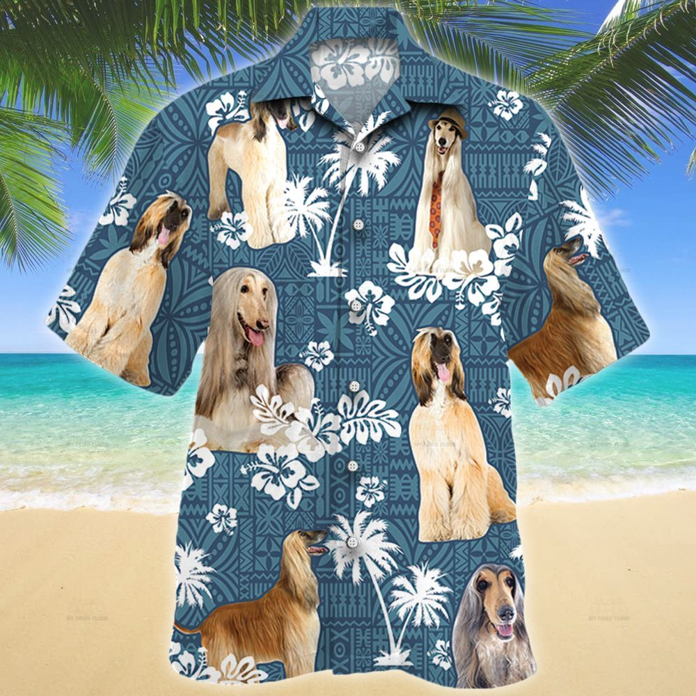 Afghan Hound Dog Blue Tribal Pattern Hawaii Shirt
