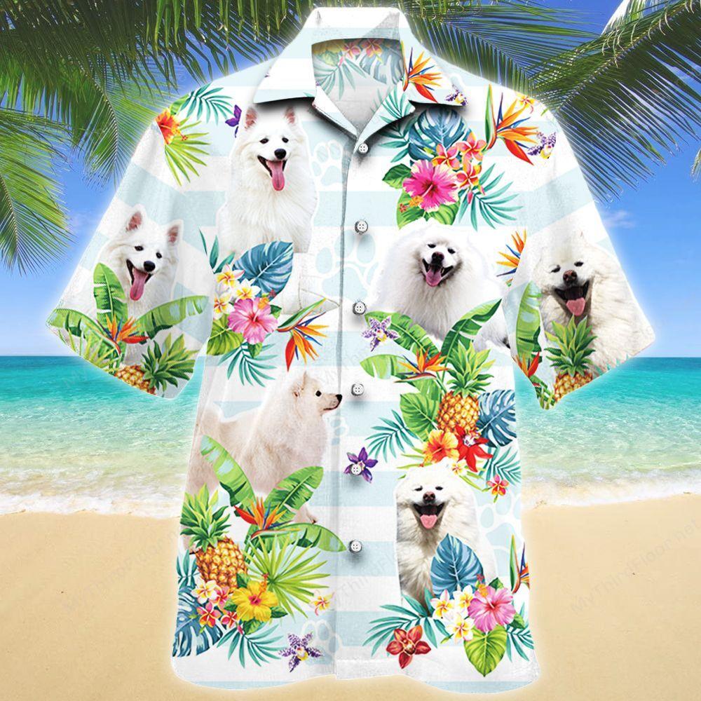 American Eskimo Dog Tropical Flower Hawaii Shirt