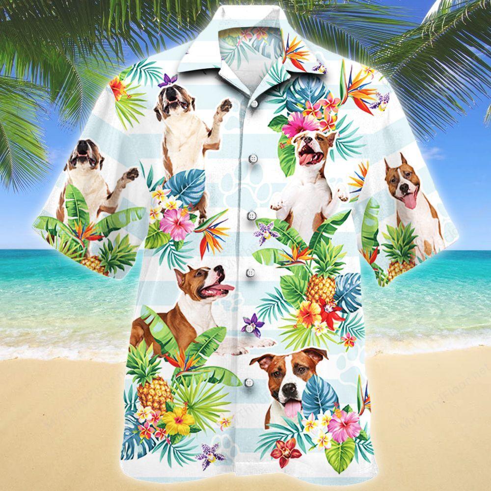 American Staffordshire Terrier Dog Tropical Flower Hawaii Shirt