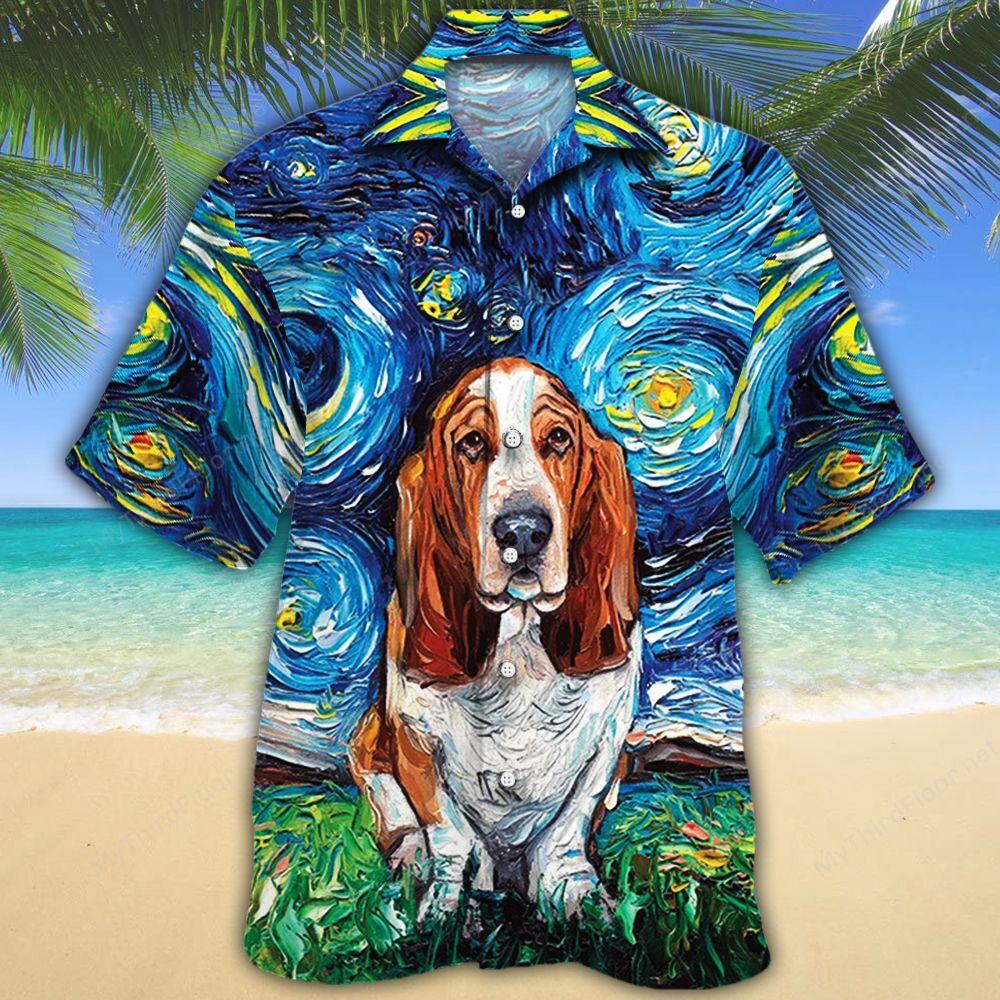 Basset Hound Dog Lovers Night Hawaiian Shirt