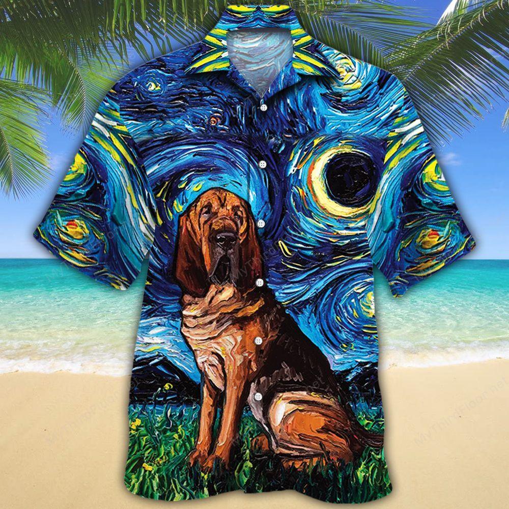 Bloodhound Dog Lovers Night Hawaiian Shirt