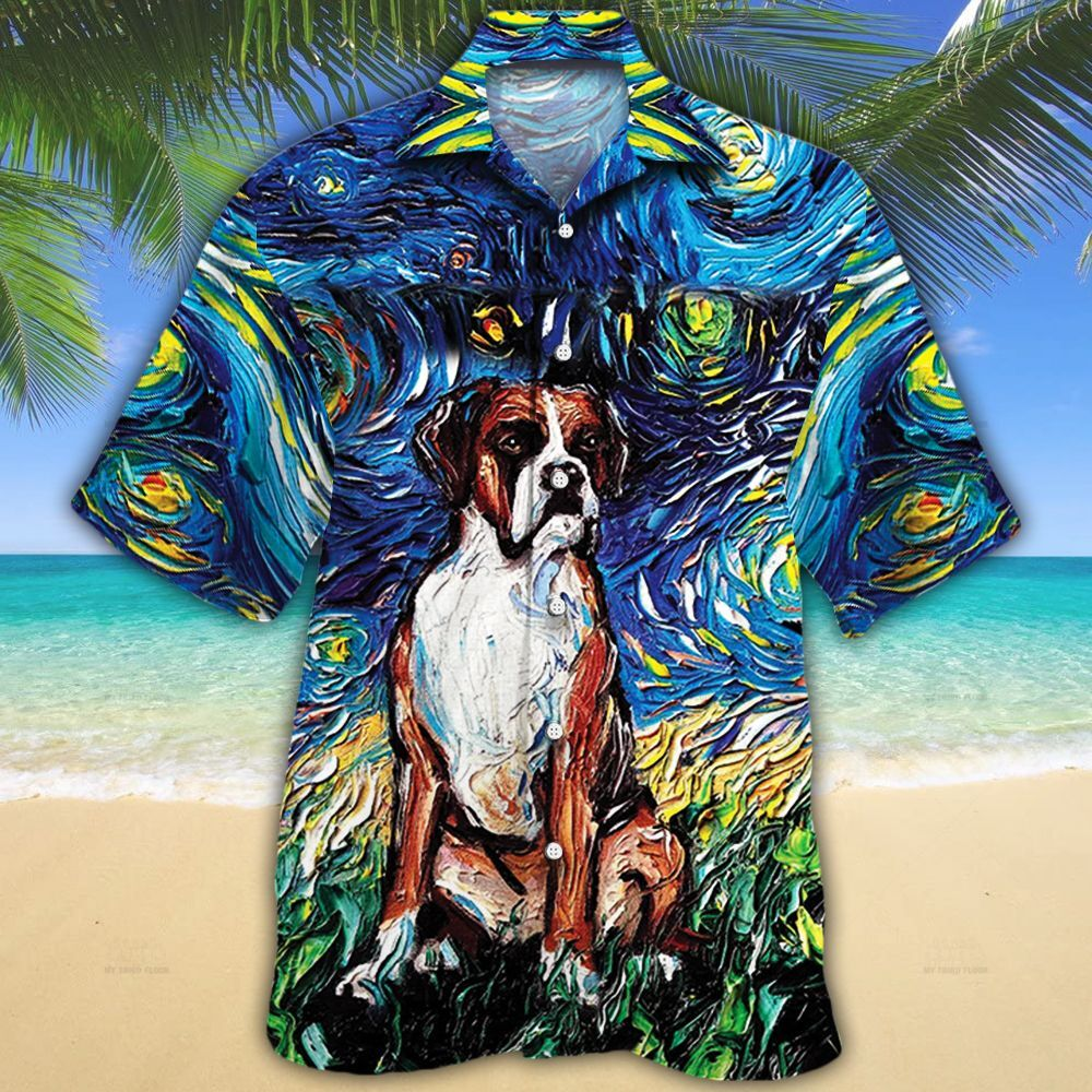 Boxer Dog Lovers Night Hawaiian Shirt