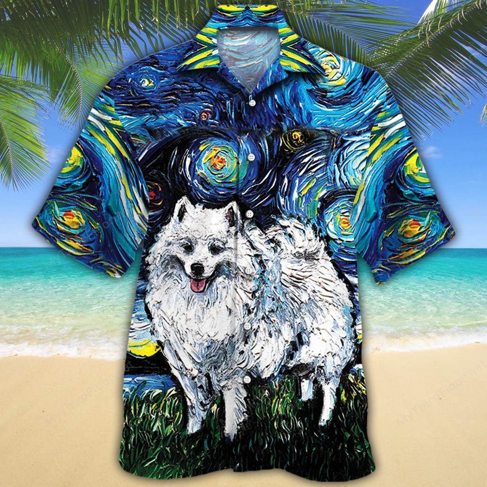 American Eskimo Dog Lovers Night Hawaiian Shirt