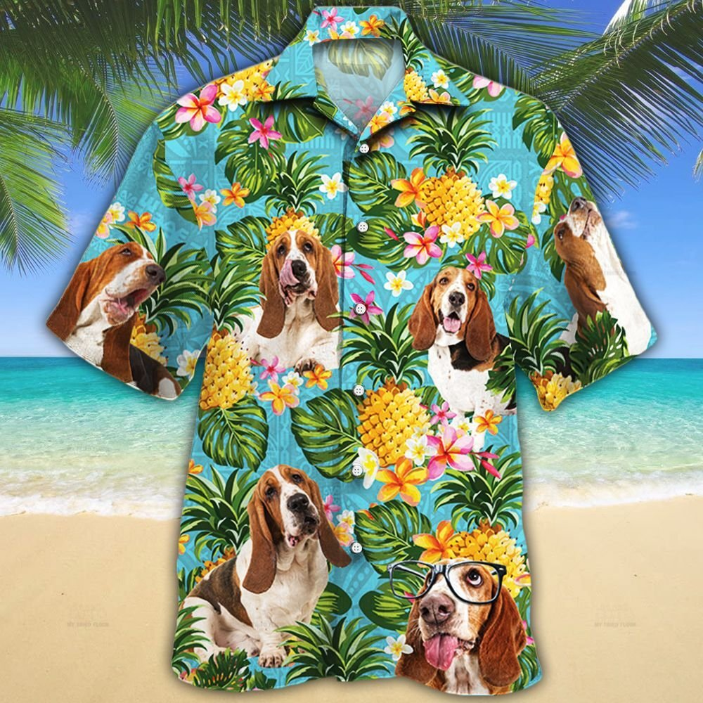 Basset Hound Dog Lovers Pineapple Hawaiian Shirt