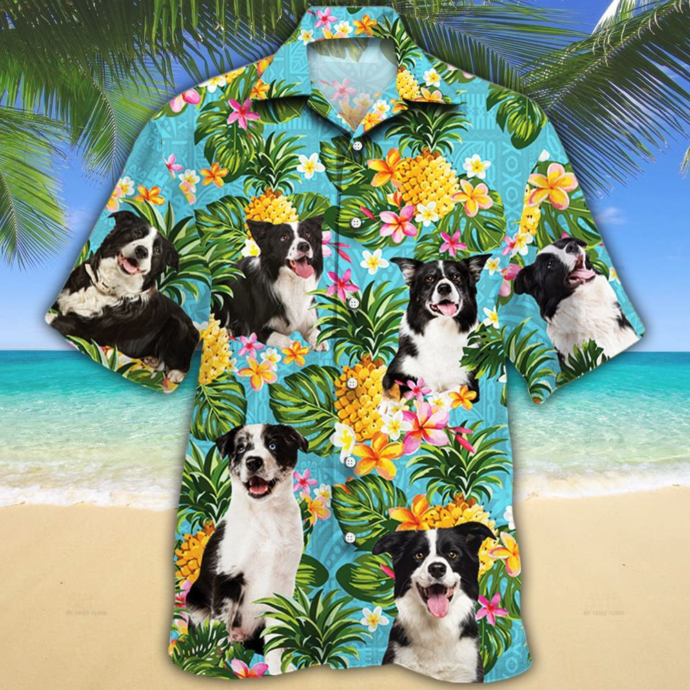 Border Collie Dog Lovers Pineapple Hawaiian Shirt
