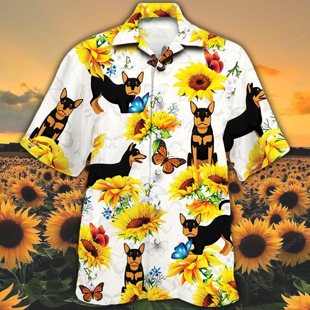 Australian Kelpie Dog Lovers Sun Flower Hawaiian Shirt