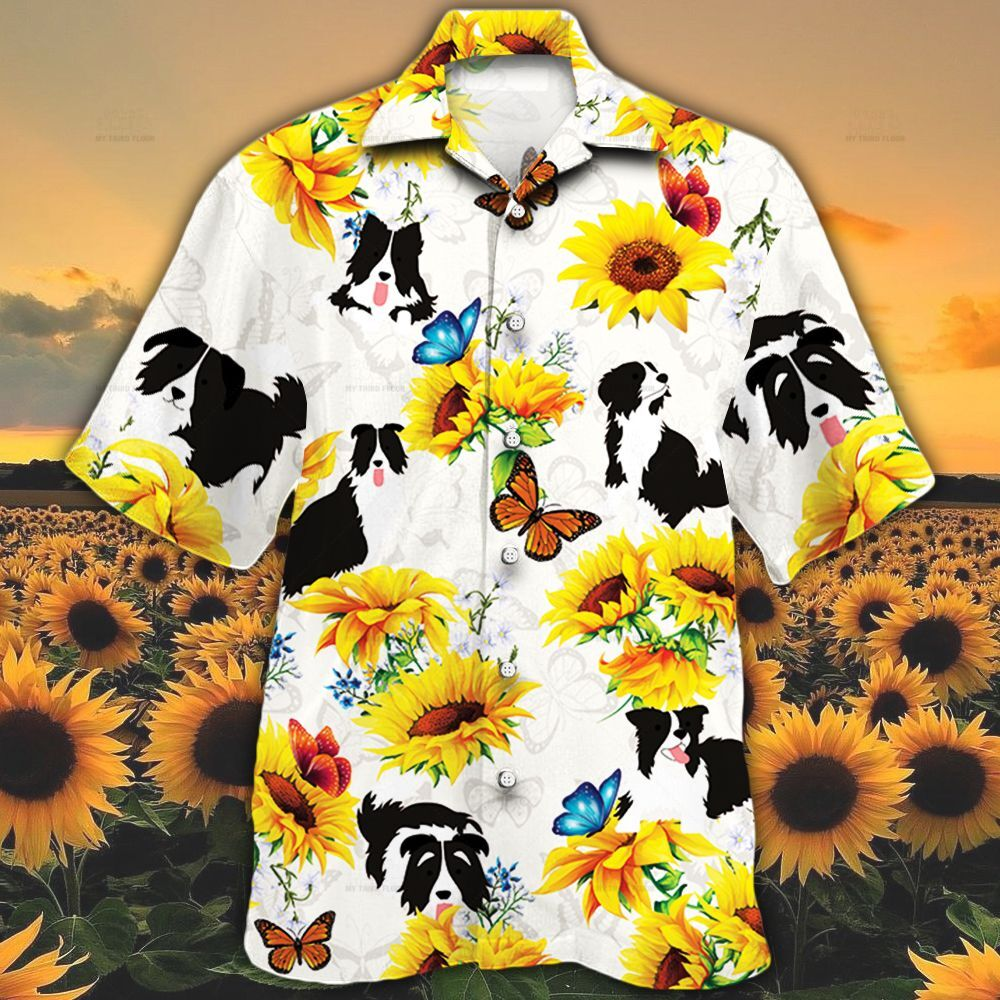 Border Collie Dog Lovers Sun Flower Hawaiian Shirt