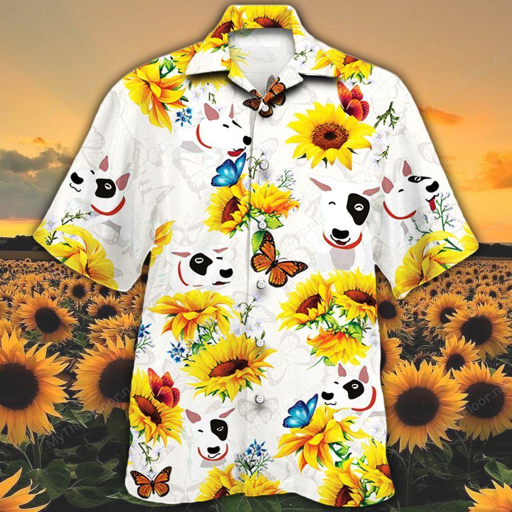 Bull Terrier Dog Lovers Sun Flower Hawaiian Shirt