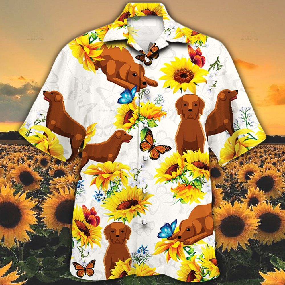 Chesapeake Bay Retriever Dog Lovers Sun Flower Hawaiian Shirt