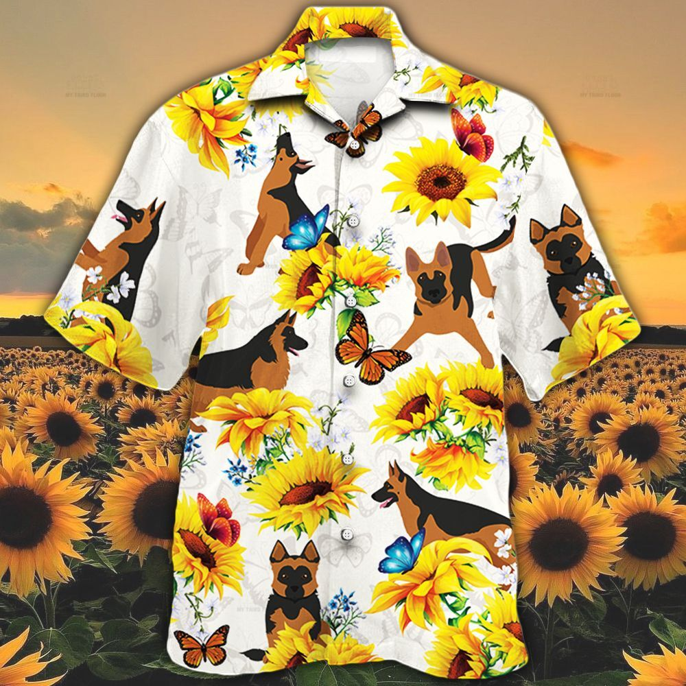 German Shepherd Dog Lovers Sun Flower Hawaiian Shirt