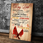 Personalized Dad Canvas, Gift For Father's Day, To My Dad I Know It's Not Easy For A Man Cardinal Bird Canvas - Spreadstores