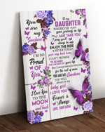 Personalized Daughter Canvas, To My Daughter Wherever Your Journey In Life Purple Butterflies Canvas - Spreadstores