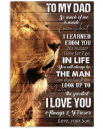 Personalized Dad Canvas, Best Gift For Father's Day, To My Dad So Much Of Me Is Made From What I Learned Lion King Canvas - Spreadstores