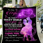Personalized Blanket To My Wife In This Crazy World I'm So Glad, Gift for Husband Wife, Wedding Fleece Blanket - Spreadstores