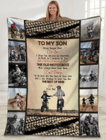To My Son Never Forget That I Love You Dad And Son Motorbike Sherpa Blanket - Spreadstores