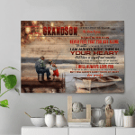 To My Grandson Life Isn't About Waiting For The Storm To Pass, I Will Always Love You, Grandpa To Grandson Fishing Canvas - Spreadstores