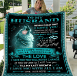 To My Husband Never Forget That I Love You Till My Last Breath Wolf Fleece Blanket - Spreadstores