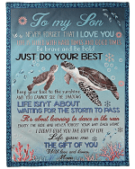 To My Son Be Brave And Be Bold Just Do Your Best Turtle Fleece Blanket - Spreadstores