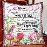 To My Gorgeous Wife Blanket, Gifts For Her, Meeting You Was Fate Flower Quilt Blanket - Spreadstores
