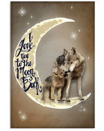 Wolf Wall Art I Love You To The Moon And Back Wolfs Matte Canvas - Spreadstores
