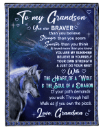 Wolf Grandson Blanket You Are Brave Than You Believe, Gift For Grandson From Grandma Fleece Blanket - Spreadstores