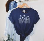 Vintage 1981, All Original Parts V4, 40th Birthday Gifts Idea, Gift For Her For Him Unisex T-Shirt KM0804 - Spreadstores