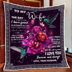 Wife Quilt, Gifts For Her, To My Wife The Day I Met You, Hummingbird And Flower Quilt Blanket - Spreadstores
