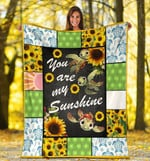 You Are My Sunshine Sunflower Turtle Fleece Blanket - Spreadstores