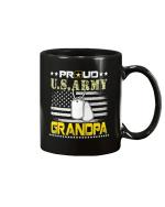 Vintage Proud Grandpa U.S.Army Veteran Flag Gift Mug - Spreadstores